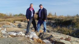 Probe Metals' chairman Jamie Sokalsky (left) with director Gordon McCreary at the Val-d'Or east gold project. Credit: Probe Metals.