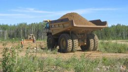 A mining truck at Suncor Energy, Total and Teck Resources' Fort Hills oilsands project in Alberta. Credit: Teck Resources.