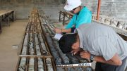 Workers in the core shack at Adventus Zinc and Salazar Resources' Curipamba copper-gold-zinc project in Ecuador. Credit: Adventus Zinc