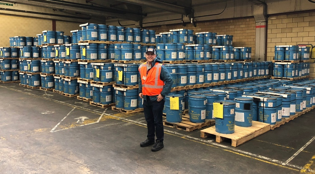 Cobalt 27 Capital Corp. Chairman and CEO Anthony Milewski at the company's Rotterdam cobalt warehouse in January 2018. Photo Credit: Cobalt 27 Capital Corp.