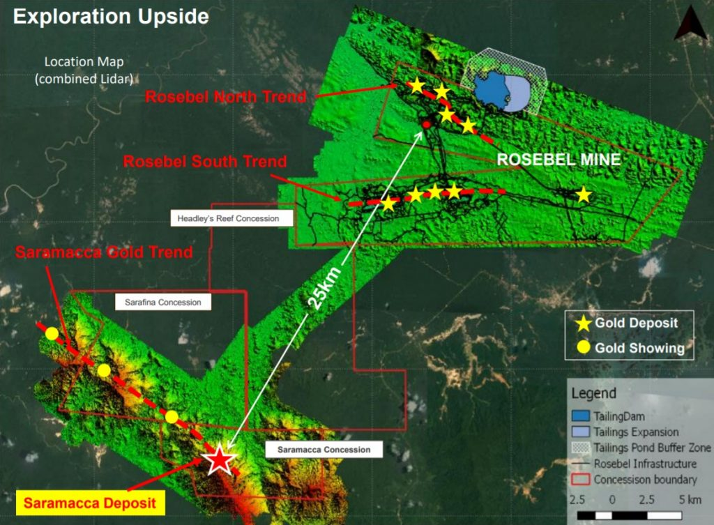 Map of Iamgold's Saramacca gold property and its Rosebel mine property in Suriname. Credit: Iamgold.