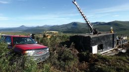 A truck and drill rig at Rockhaven Resources' Klaza gold-silver project in the Yukon. Credit: Rockhaven Resources.