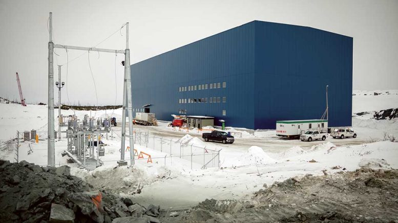 The concentrator building and the electricity hookup at Nemaska Lithium's Whabouchi lithium project in Quebec. Credit: Nemaska Lithium.