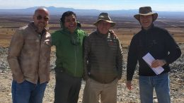At the Cerro Las Minitas property in Durango state, Mexico, from left: Newsletter writer Eric Muschinski; Southern Silver Exploration project geologist Juan Lopez Luque; Southern Silver president Lawrence Page; and Southern Silver vice-president of exploration Robert MacDonald. Credit: Lesley Stokes.
