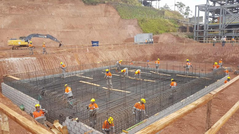 Workers preparing to pour the mill's foundation at Equinox Gold's Aurizona project in northeastern Brazil. Credit: Equinox Gold