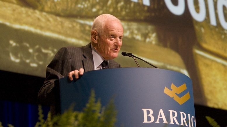 Barrick Gold founder Peter Munk addresses shareholders at the 2010 annual general meeting.Credit: Barrick Gold.