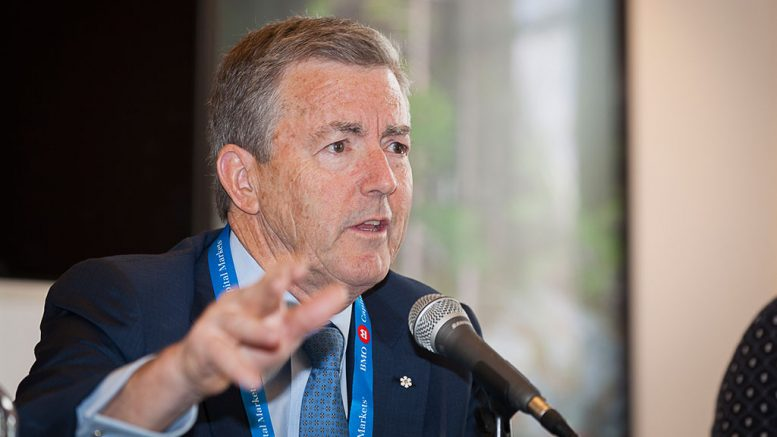 Ross Beaty, chairman of Pan American Silver and Equinox Gold, at the Canadian Mining Symposium in London on April 25, 2018. Photo by Martina Lang.