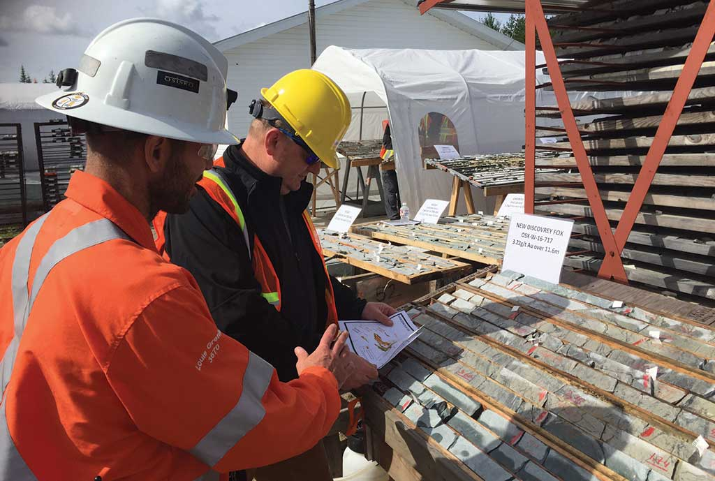 Core samples on display at Osisko Mining's Windfall gold project in Quebec. Credit: Osisko Mining.