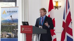 Walter Coles, Jr., president and CEO of Skeena Resources speaking at the Northern Miner's Canadian Mining Symposium in London, U.K., in April 2018. Photo by Martina Lang.