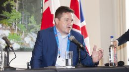 Lance Hooper, president and COO of Cobalt Blockchain, speaking at The Northern Miner's Canadian Mining Symposium at Canada House in London in April 2018. Photo by Martina Lang.