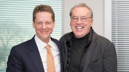 Robert Friedland, executive chairman of Ivanhoe Mines (left), and Frank Holmes, CEO of U.S. Global Investors, at the U.S. Global Investors office in San Antonio, Texas, in early 2018. Credit: U.S. Global Investors.