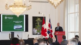 Richard Williams, president and CEO of Strongbow Exploration, speaking at the Northern Miner's Canadian Mining Symposium in London, U.K., in April 2018. Photo by Martina Lang.