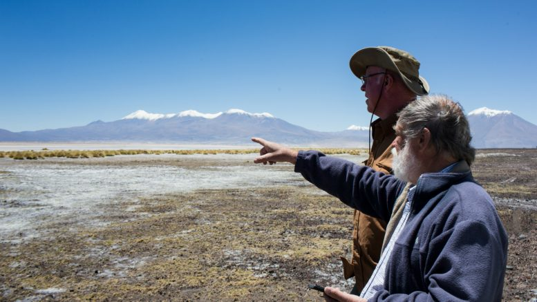 Lithium Chile vice-president of exploration Terry Walker (right) and senior geologist Eric Hansen on the company's property in the Salar De Atacama. Credit: Lithium Chile.