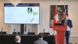 Anaconda Mining president, chief executive officer and director Dustin Angelopresents at the Canadian Mining Symposium in London on April 25, 2018.