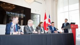 From left: Guy Bourassa, president and chief executive officer, Nemaska Lithium; Robin Goad, president and chief executive officer, Fortune Minerals; Rebecca Gordon, head of technology metals and energy, CRU Consulting; Lance Hooper, president and chief operating officer, Cobalt Blockchain. Moderator: Richard Quarisa, The Northern Miner. Photo by Martina Lang.