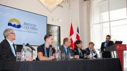 The British Columbia Advantage panel at the Canadian Mining Symposium in London on April 24, 2018. From left: Charles J. Greig, vice president exploration, GT Gold; Chad Norman Day, president, Tahltan Central Government; Dave Nikolejsin, deputy minister, Province of British Columbia; Corinne McKay, secretary-treasurer, Nisga'a Lisims Government; and Walter Coles Jr., president and chief executive officer, Skeena Resources. Photo by Martina Lang.