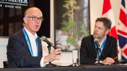 Left: Mark Child, executive chairman and chief executive officer, Condor Gold and moderator Bill Whitelaw, president and chief executive officer, JWN Energy. Recorded live at the Canadian Mining Symposium in London on April 24, 2018.