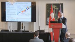 Marathon Gold president and chief executive officer Phillip C. Walford presents at the Canadian Mining Symposium in London on April 25, 2018.