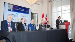 From left: Michael J. Byron, president and chief executive officer, Nighthawk Gold; Joseph Campbell, chief executive officer, TerraX Minerals; Ken Armstrong, president, chief executive officer and director, North Arrow Minerals; Robin Goad, president and chief executive officer, Fortune Minerals; Tom Jensen, Deputy Minister, Tourism and Investment, Government of Northwest Territories; and Wally Schumann, Minister of Industry, Tourism and Investment and Minister of Infrastructure, Government of Northwest Territories. Photo by Martina Lang.