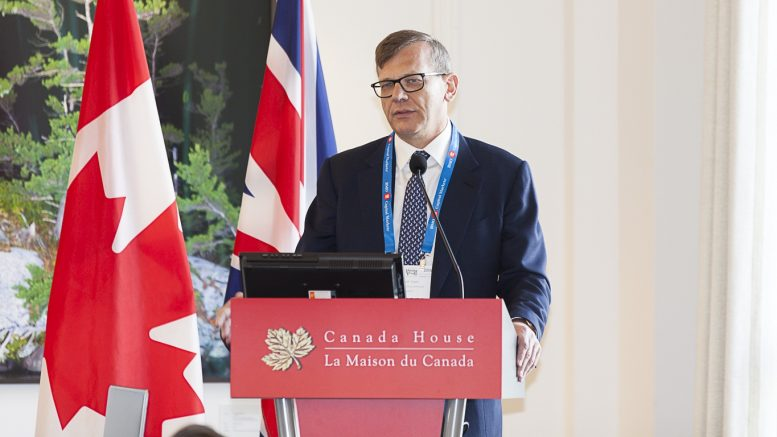 Richard P. Clark, CEO of Orca Gold, speaking at the Northern Miner's Canadian Mining Symposium in London, U.K., in April 2018. Photo by Martina Lang.