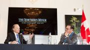 Franco-Nevada chairman Pierre Lassonde (left) and Northern Miner publisher Anthony Vaccaro at The Northern Miner's Canadian Mining Symposium at Canada House in London, UK, in late April 2018. Photo by Martina Lang.