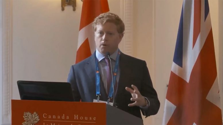 Skeena Resources president and chief executive officer Walter Coles, Jr. presents at the Canadian Mining Symposium in London on April 24, 2018.