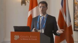 Teranga Gold chief operating officer Paul Chawrun presents at the Canadian Mining Symposium in London on April 25, 2018.