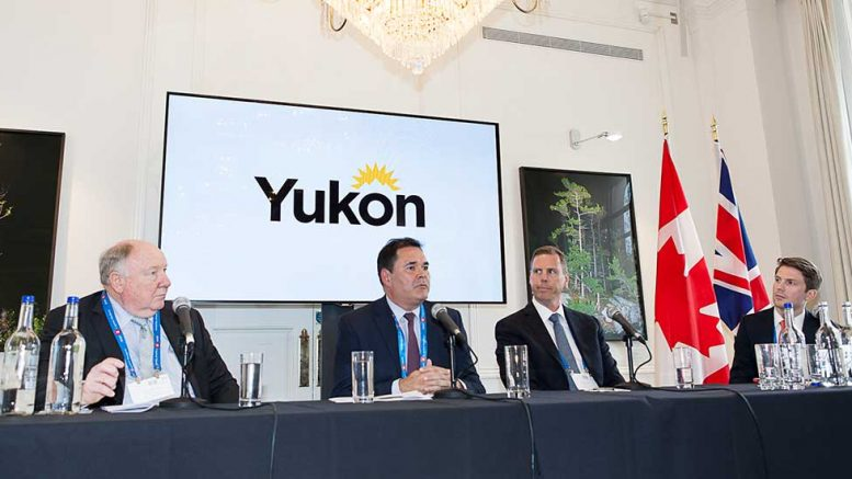 The Invest Yukon mining panel at the Canadian Mining Symposium in London on April 24, 2018. From left: Clynton Nauman, president and chief executive officer, Alexco Resource; Stephen Mills, Deputy Minister Energy Mines and Resources, Government of Yukon; Graham Downs, president and chief executive officer, ATAC Resources; Thomas Horton, co-chairman, Association of Mining Analysts, UK. Photo by Martina Lang.