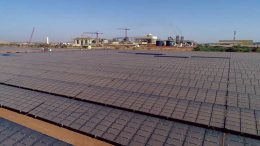 Solar panels in front of processing facilities at Iamgold's Essakane gold mine in Burkina Faso. Credit; Iamgold.