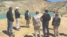 Pete Blakeley (facing camera), Revival Gold's general manager, addresses visitors near the South Pit at the historic Beartrack gold project in Idaho. Credit: Revival Gold.