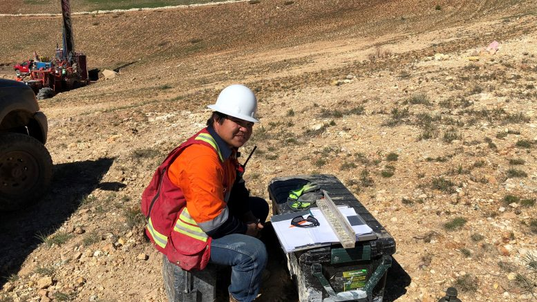 An Integra geologist on-site at DeLamar. Credit: Integra Resources.