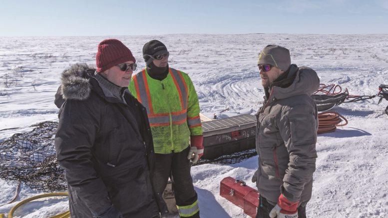 Gren Thomas (left) at North Arrow Minerals' Loki project. Credit: North Arrow Minerals