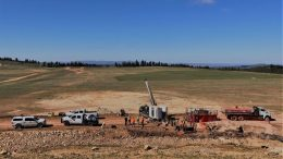 Drilling at Integra's DeLamar gold project near Boise, Idaho. Credit: Integra Resources.