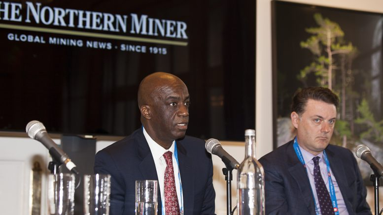 Dean McPherson (left), head of business development for global mining at TMX Group; and Shea Small, co-leader of global mining at McCarthy Tetrault, at The Northern Miner's Canadian Mining Symposium at Canada House in London, U.K., in April 2018.