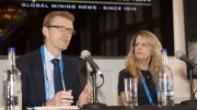 Aidan Davy, COO of the International Council on Metals & Mining; and Sandra Gogal, partner and aboriginal leader at Miller Thomson at The Northern Miner's Canadian Mining Symposium at Canada House in London, U.K., in April 2018. Photo by Martina Lang.