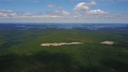 Aerial view of Dixie Lake in northwestern Ontario's Red Lake gold district. Credit: Great Bear Resources.