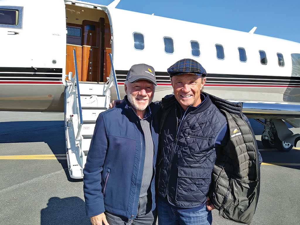 Agnico Eagle Mines chairman James Nasso (left) and CEO Sean Boyd at Rankin Inlet airport, 25 km from the Meliadine gold project in Nunavut. Photo by Trish Saywell.