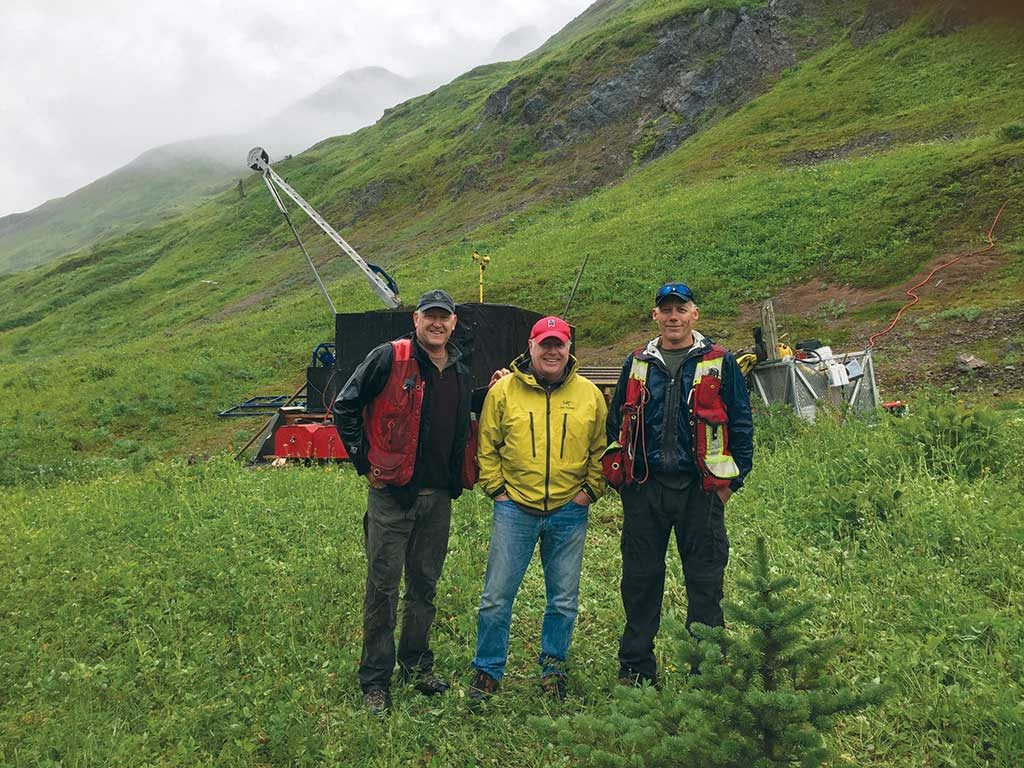 At Aben Resources' Forrest Kerr gold project in B.C., from left: director Timothy Termuende, CEO James Pettit and VP of exploration Cornell McDowell. Credit: Aben Resources.