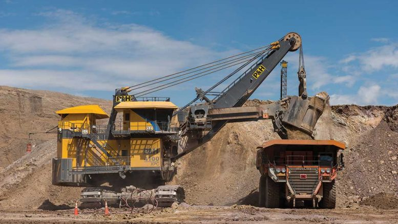 An electric shovel dumps material into a haul truck at SSR Mining's Marigold gold mine in Nevada. Credit: SSR Mining.