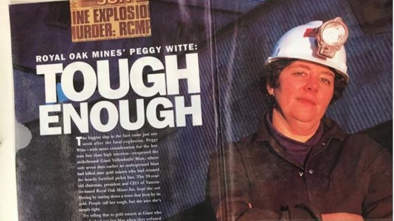 Excerpts from a magazine and newspaper article on Peggy Witte, head of Royal Oak Mines, in the 1990s. Credit: Margaret Kent archives.