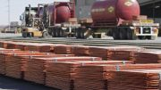 Stacks of copper cathode at the Svedala mill, part of BHP's Olympic Dam processing operations in South Australia. Credit: BHP.