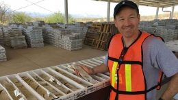 Paddy Nicol, president and CEO of Evrim Resources, viewing core at the Ermitano gold-silver project in Sonora, Mexico. Credit: Evrim Resources.