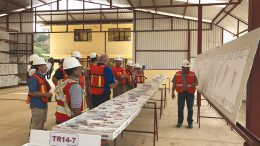 Executives, workers and visitors in the core shack at Endeavour Silver's Terronera silver project, 40 km northeast of Puerto Vallarta, Mexico. Credit: Endeavour Silver.
