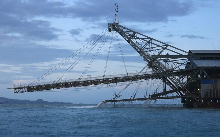 A bucket line tin dredge in Indonesia. Credit: International Tin Association.