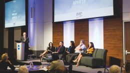 The Northern Miner's editor-in-chief John Cumming (far left) moderates the big data discussion at the Progressive Mine Forum in October in Toronto. Panellists seated from left: Talia Dabby, PwC Canada director; Glenn Mullan, PDAC president; Humera Malik, Canvas Analytics CEO; Gordon Stothart, Iamgold executive vice-president and chief operating officer; and Shelby Yee, RockMass Technologies co-founder and CEO. Photo by George Matthew Photography.