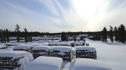 Core racks in the winter at Denison Mines' Wheeler River uranium project in Saskatchewan. Credit: Denison Mines.