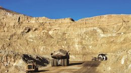 Trucks at New Gold's Mesquite gold mine in California. Credit: Equinox Gold.