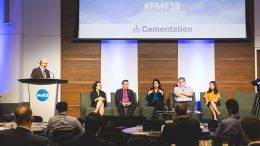 From left: Moderator John Cumming, The Northern Miner editor-in-chief; Talia Dabby, PwC Canada director; Glenn Mullan, PDAC president; Humera Malik, Canvas Analytics CEO; Gordon Stothart, Iamgold executive vice-president and chief operating officer; and Shelby Yee, RockMass Technologies co-founder and CEO. Photo by George Matthew Photography.