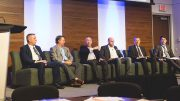Panellists (from left): Cory McPhee, Vale's VP of corporate affairs, communications and sustainability; Carl Weatherell, Canada Mining Innovation Council CEO; Nathan Stubina, McEwen Mining's managing director of innovation; Jason Goodhand, e-Zn Inc.'s VP of business development; Raziel Zisman, Whittle Consulting's co-founder and partner; and John Mullally, Goldcorp's VP of corporate affairs and energy regulation. Photo by George Matthew Photography.