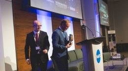 Sean Boyd, Agnico Eagle Mines CEO, accepts The Northern Miner's Mining Person of the Year Award at the Progressive Mine Forum in Toronto. Photo by George Matthew Photography.